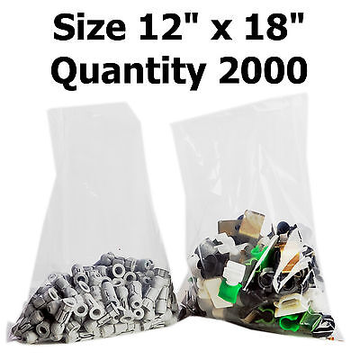 2000x Clear Polythene Plastic Bags 12