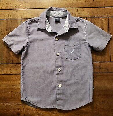 NAUTICA Top Kids Boys 3T Toddler Blue Button Down Shirt Short Sleeve