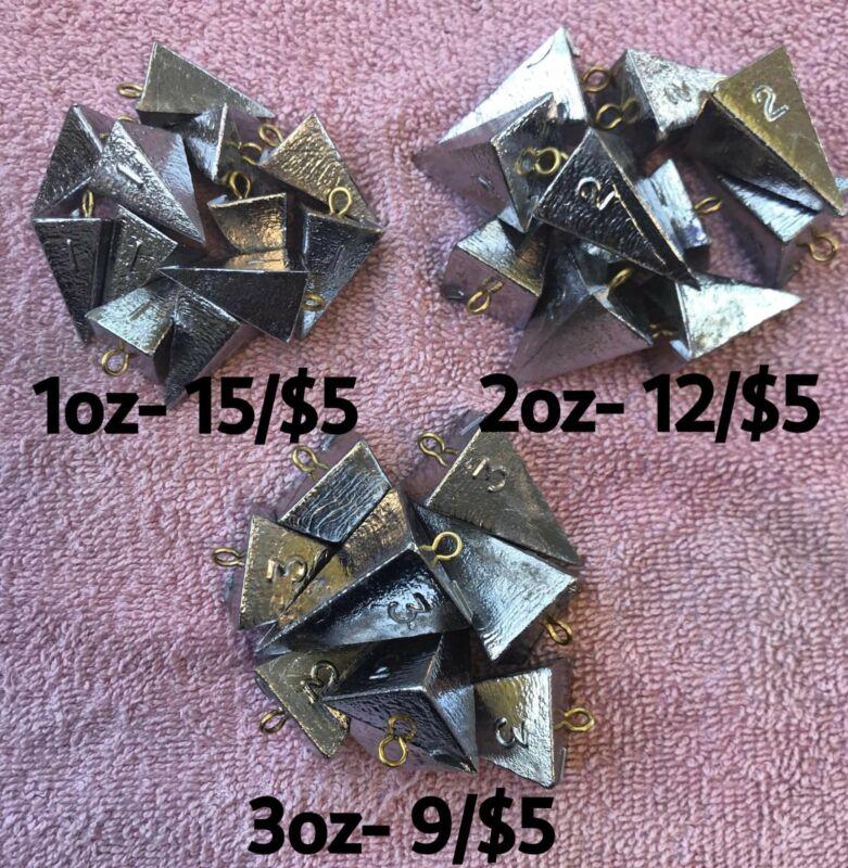 Fishing Bank Pyramid Sinker 1oz, 2oz,3oz,or 4oz Handmade by Fisherman