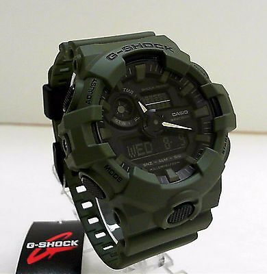 New Casio G-Shock Olive Green Big Case Ana Digi World Time Watch GA-700UC-3A