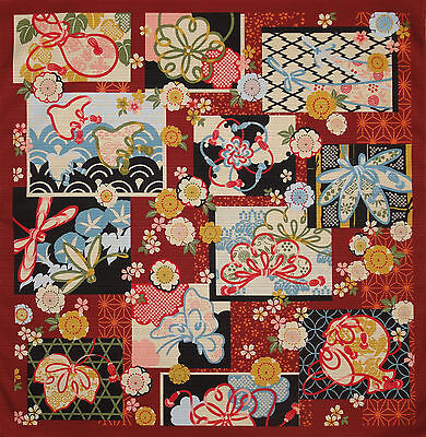 Furoshiki Japanese Fabric Cloth 'Traditional Patterns on Deep Red' Cotton 50cm (Japanese Fabric Patterns)