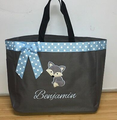 Personalized Baby Diaper Bag Tote Monogrammed Boy Fox ()