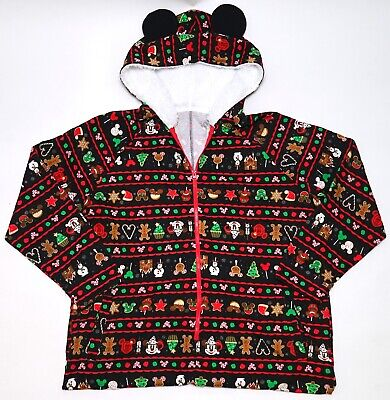 Disney Adult Pjs (NEW Disney Parks Holiday Snacks Ugly Sweater One Piece Adult Hooded)