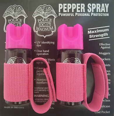 2 Police Magnum mace pepper spray 2oz Pink jogger runner strap defense security