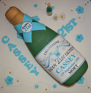 Personalised Champagne Bottle Cake Topper