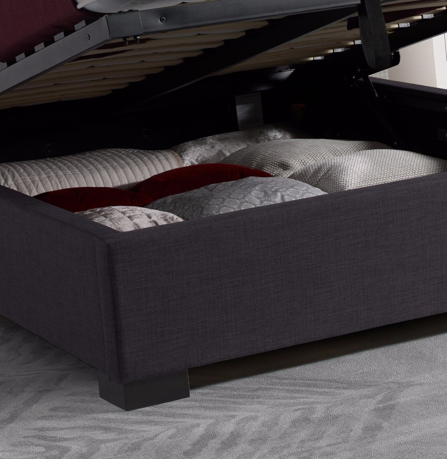 Ludlow Fabric Ottoman Storage Bed Wingback Frame King Size