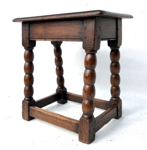 Antique Victorian Oak Joint Stool Occasional Table Lamp Stand (a17)