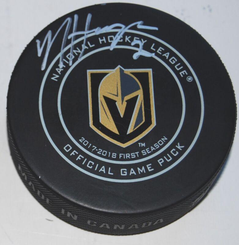NICOLAS HAGUE signed (LAS VEGAS GOLDEN KNIGHTS) game hockey puck W/COA