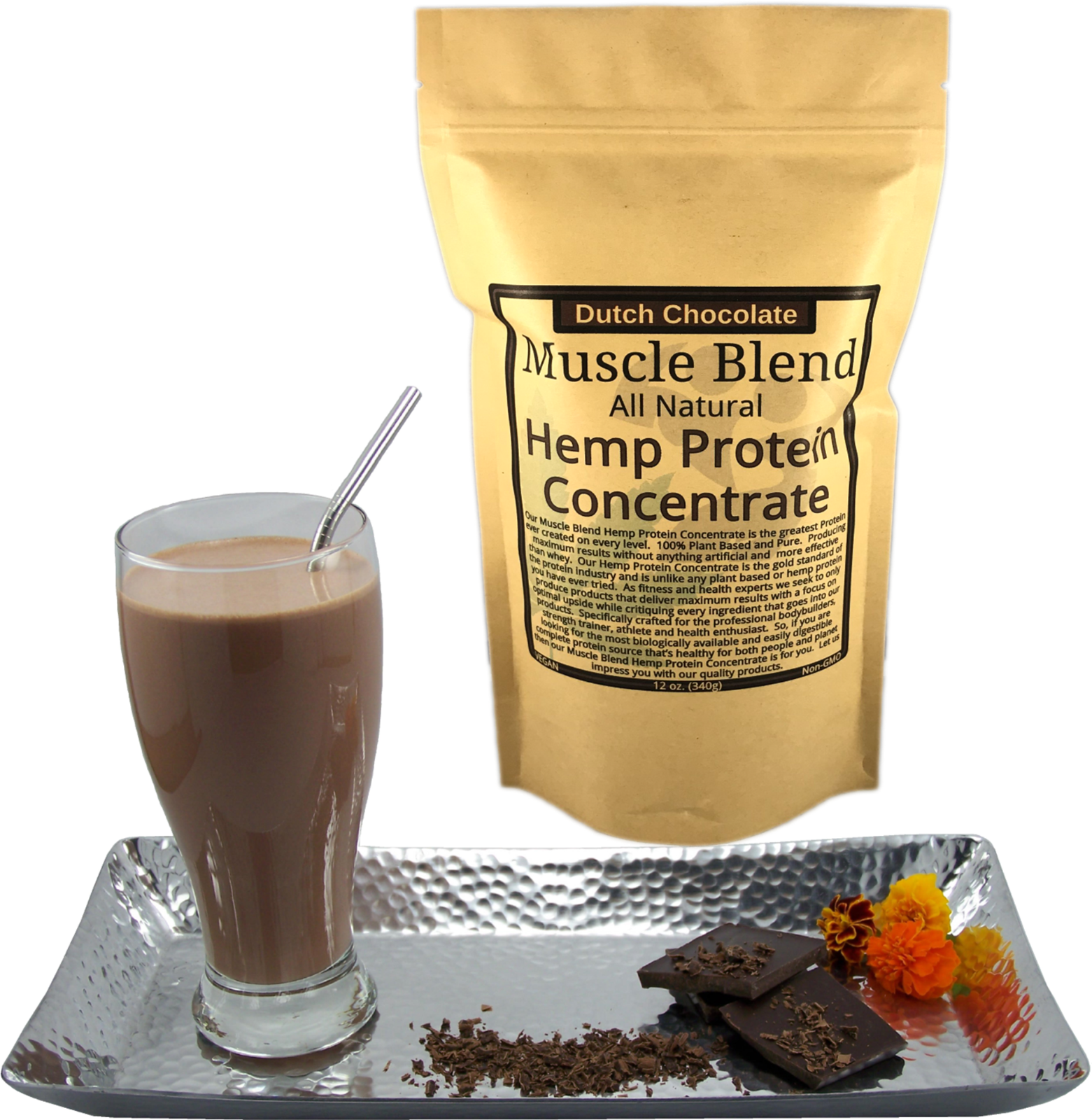 Chocolate Hemp Protein Powder Concentrate, Plant Based Vegan, 100% Pure, Natural