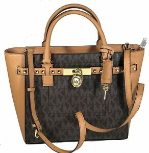 b0a0084c6f4d Michael Kors Hamilton Brown Acorn MK Traveler Gold Stud Large Tote Bag 498