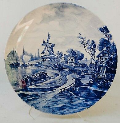 Antique blue & white Transferware Wall Platter Windmills