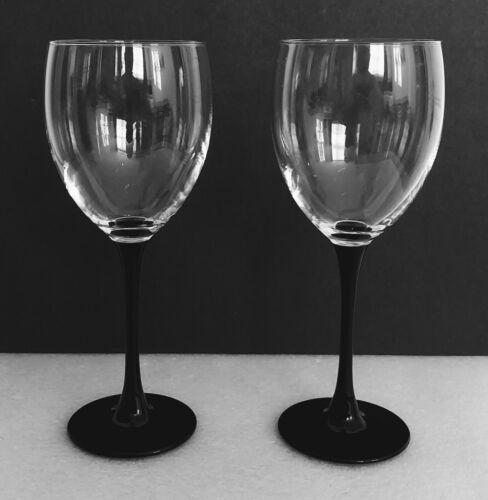 "Vintage Luminarc France Black Stem Wine Glasses Arcoroc 8"" Set of Four (2)"