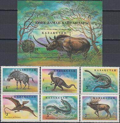 Kazakhstan Set & S/S Prehistoric Animals 1994 MNH-6 Euro