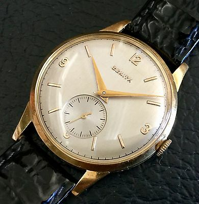 Vintage Zenith 18K Yellow Gold Large Men's Watch Swiss Made