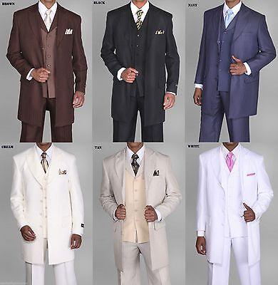3 Piece Zoot Suit - Men's Zoot suit,3 piece With Matching Vest Brown White Black 38R~56L 35'' Length