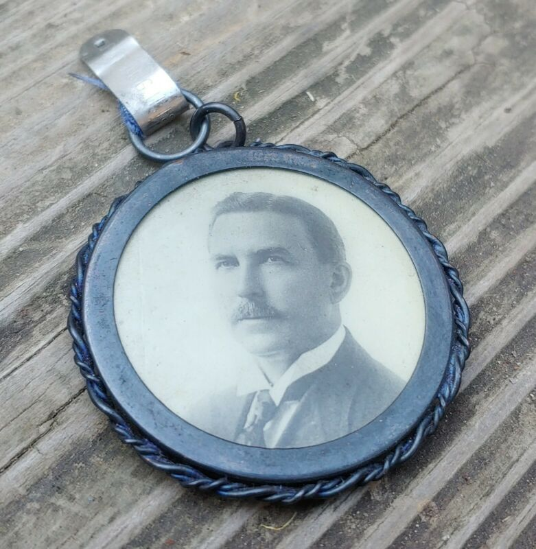 Antique Morning Mustache Gentleman Medallion Whitehead & Hoag Co. 8/11/1896