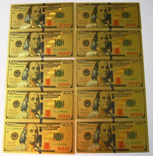 10 (TEN) 24K GOLD PLATED $100 DOLLAR BILL