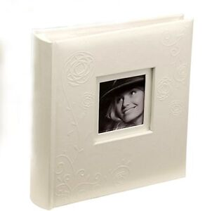 White-bonded-Leather-Traditional-photograph-Album-memo-style-pages-PP-pockets