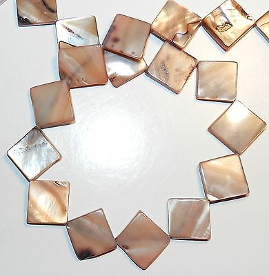 MP281spf Brown 15mm Flat Diamond Square Mother of Pearl Gemstone Shell Beads 16
