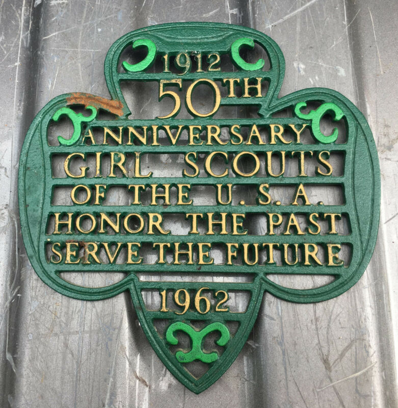 1912-1962 50th Anniversary Girl Scouts Cast Iron Trivet vintage wall plaque
