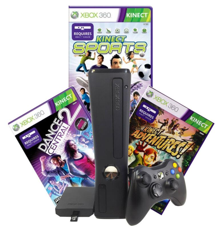 Refurbished Xbox 360 250GB Kinect Sensor, Sports, Adventures, Dance Central 2