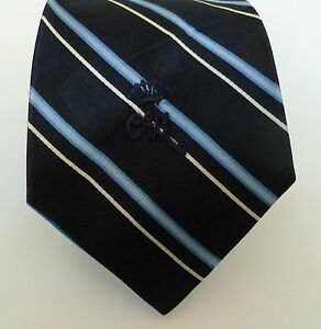 Vintage COUNTESS MARA Satin Necktie Black Blue Stripe Tie