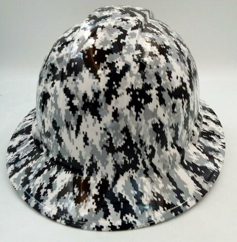 Hard Hat FULL BRIM custom hydro dipped , OSHA approved WHITE DIGITAL CAMO NEWEST 3