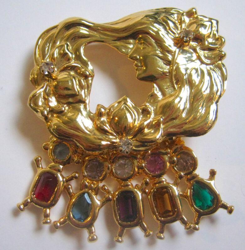 Kirks Folly Pin Art Nouveau Woman Flowing Hair 5 Charms of Children Gemstones