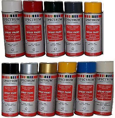 8,73€/L Spectrum Sprühlack Acryl Lack-Spray Farbauswahl 400ml Glänzend / Matt  - 8 Ml Farbe Glänzend