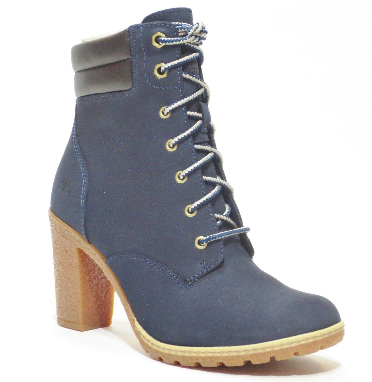 Timberland Women's Tillston High Heel Navy Blue Leather Boot
