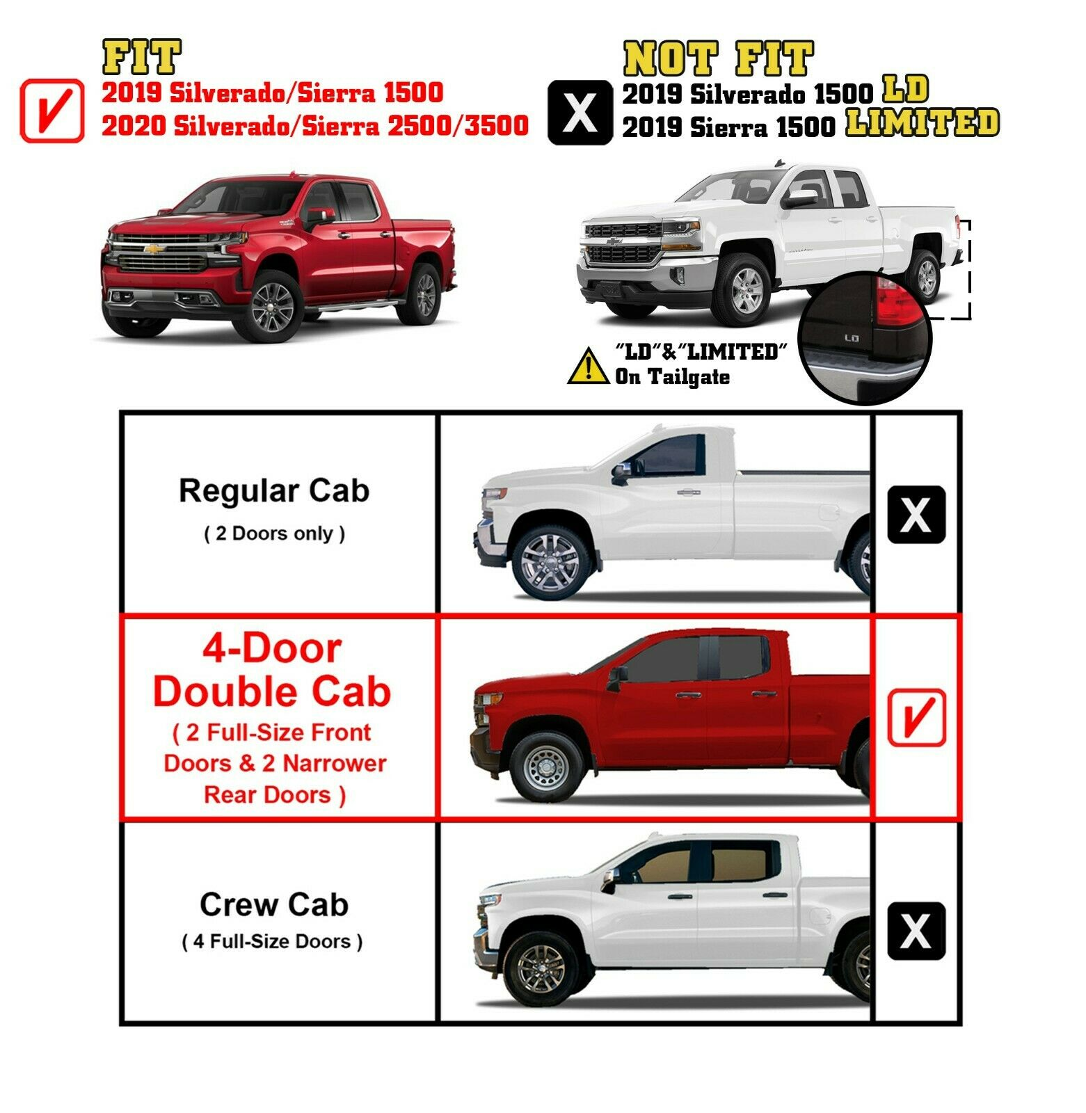 Double Cab Vs Crew Cab Silverado >> Details About For 2019 2020 Chevy Silverado Gmc Sierra 1500 Double Cab 5 Running Board Steps