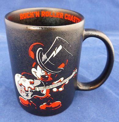 DISNEY PARKS MICKEY MOUSE ROCK'N ROLLER COASTER BLACK CERAMIC COFFEE MUG CUP