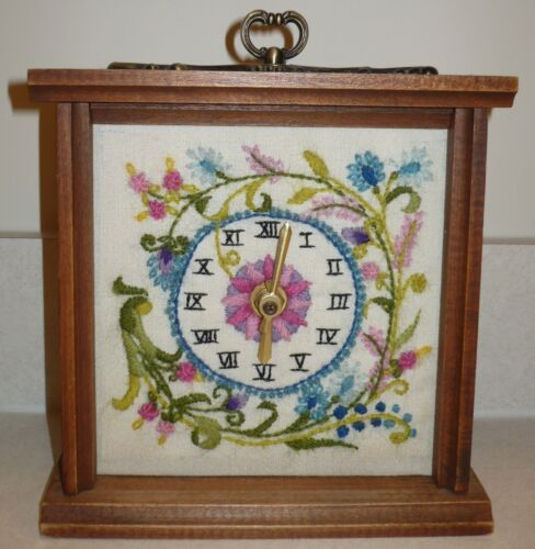 Wooden Wood Clock * Finished Completed Handmade * Embroidered Embroidery Vintage