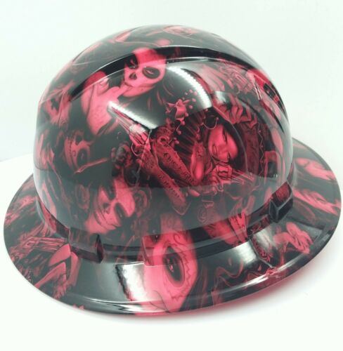FULL BRIM Hard Hat custom hydro dipped , NEW HOT PINK TATTOO BABES BANDITO NEW 1