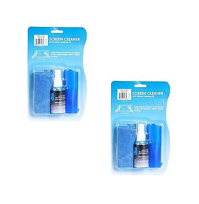 2x Screen Cleaning Kit 60 ml LCD Plasma PC Laptop Tablet Monitor Cleaner