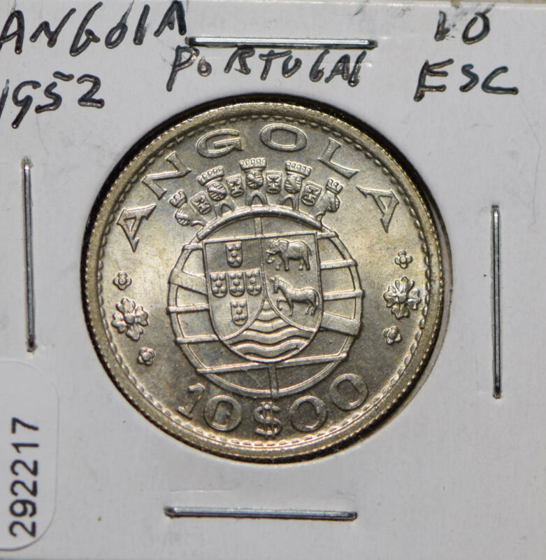 Angola 1952 Portugal 10 Escudos Elephant animal Horse  292217 combine shipping