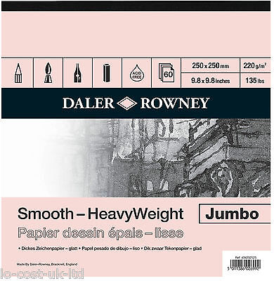 DALER ROWNEY ARTIST JUMBO SMOOTH HEAVYWEIGHT CARTRIDGE PAPER SKETCH PAD 60 SHEET