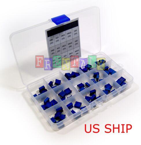75 pcs 15 Values Multiturn Trimming Potentiometer Trim Pot Kit 50 Ω - 1MΩ - 2MΩ