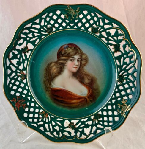 ANTIQUE PORTRAIT WOMAN GIRL CABINET PLATE OPENWORK GOLD SCALLOPED ROSE RIM A