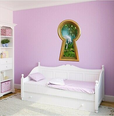 3d Keyhole Wall Decal Unicorn In Enchanted Forest Portal Window Wall Sticker - Unicorn In Forest