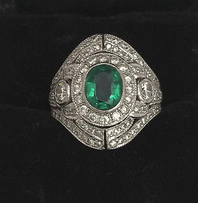Vintage rare 18K White Gold Emerald & Diamond Ring