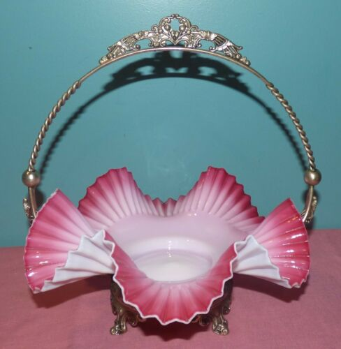 Beautiful Antique Victorian Glass Brides Basket, Pink