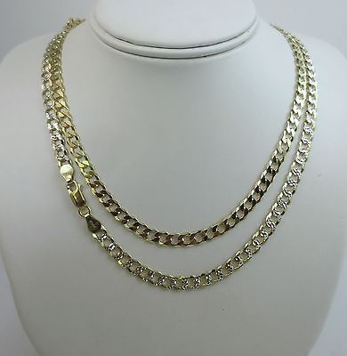 Silver Pave Curb Chain - 5.5mm Curb Pave Chain. Vermeil - Gold over Sterling Silver 2 tone, 18 to 30 Inch
