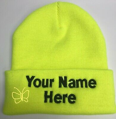 Custom Embroidery (Personalized) Embroidered Name Beanie  Knit Cap w/Cuff Yellow Personalized Knit Caps
