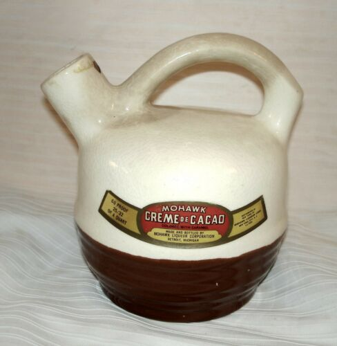 1940s Original Mohawk Liqueur Corp. Detroit Creme De Cacao Crock Jug No Stopper
