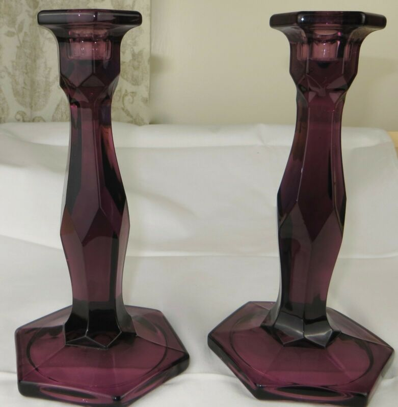 Antique EAPG Boston & Sandwich Flint Glass Amethyst Pair Candlesticks