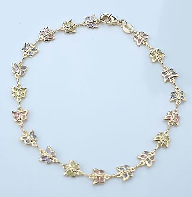 "Butterfly Anklet 9""3/4 inches Long Multi-Color Stones 14k Gold Filled  # 28"