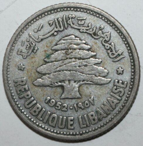 Lebanese 50 Piastres Coin 1952 KM# 17 Lebanon Silver .600 Cedar Tree Fifty