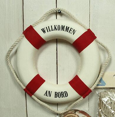 "Deko Rettungsring 25 cm rot/weiß ""Willkommen an Bord"" maritime Dekoration"