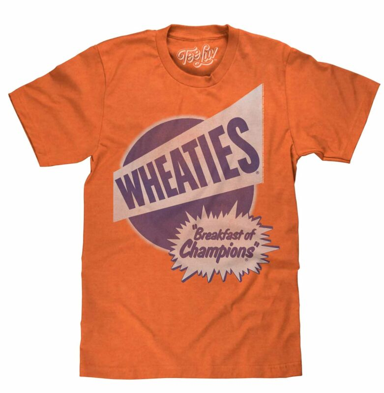 New Wheaties Breakfast Of Champions Vintage Retro 80s 90s Orange T-Shirt Tee